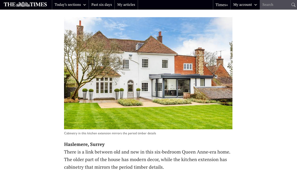 Sunday Times Surrey property feature for homes with glass extensions